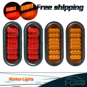 4 6 Amber red 21 Led Side Marker Truck Oval Stop Turn Tail Lights W grommet