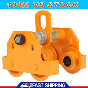 1 Ton Push Beam Track Roller Trolley Capacity 2200lbs Crane Lift Adjustable New