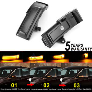 Smoked Lens Full Amber Led Side Mirror Turn Signal Light For F150 15 18 Flash