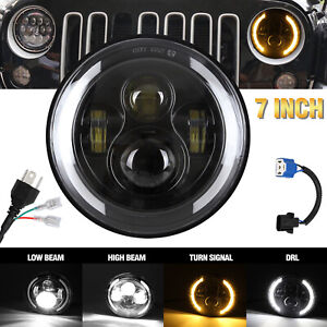 For Jeep Wrangler 7 Led Headlight W White Halo Angel Eye Drl amber Turn Signal