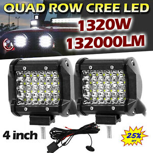 2x 4 Cree 1320w Led Work Light Bar Flood Pods Offroad Car Boat Atv Utv