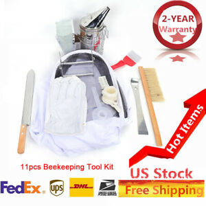 11pcs Beekeeping Suit Kit Gloves Bee Hive Scraper Brush Smoker Holder Tool Set