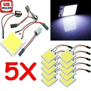 5 Pack 48 Smd Cob White Panel Led T10 Car Interior Panel Light Dome Lamp Bulb W7