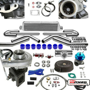 T04e 8pc T3 t4 Universal Turbo Kit V band Turbocharger Wastegate Intercooler