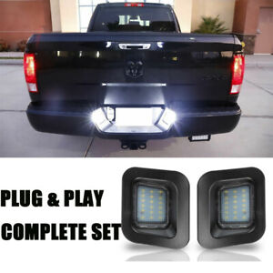 2x License Plate Rear Bumper Lights Tag Lamps For Dodge Ram 2003 2018 1500 2500