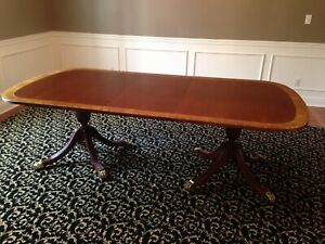 11 Ft Dining Table By Councill Duncan Phyfe Regency Style Mahogany Dbl Pedestal