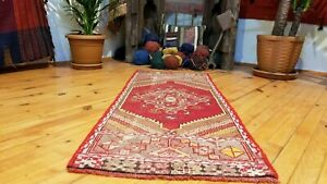 Vintage 1960s Turkish Tribal Prayer Rug 1 7 4 2