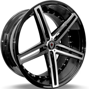 4 22 Staggered Marquee M 5334 5x115 Black Machined Wheels Fits Chrysler 300