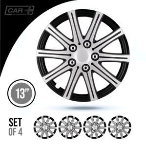 Set 4 Hubcaps 13 Wheel Cover Fuji Silver Black Abs Easy To Install Universal