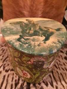 Pony Express Western Cowboy Antique Celluloid Collar Box Rare Exc Cond Large