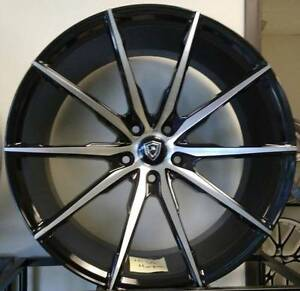 20 Inch Staggered Marquee M1035 Luxury Wheels 5x114 3 Black Machined Wheels