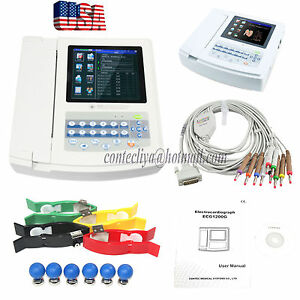 12 Channel 12 Leads Touch Digital Electrocardiograph Ecg Ekg 8 Inch Machine sw