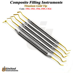 5pcs Dental Composite Filling Instruments Cig6 Burnisher Spatulas Titanium Gold