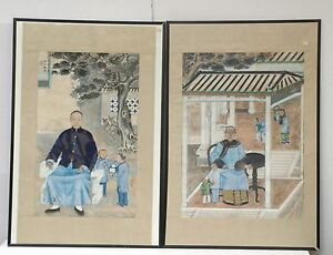Pair Of Antique Chinese Portrait Painting On Silk Fabric Early 20th C