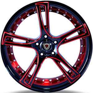 20x9 Marquee M 3247 5x112 Black And Red Wheels Rims Fits Audi Vw 35mm