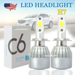 Cob H7 Led Headlight Kit Bulbs High Low Beam 6500k Pure White 100w 20000lm Pair