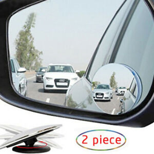 2pcs Wide Angle Convex Car Vehicle Blind Spot Round Stick On Rear View Mirror