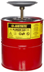 Justrite 10308 Red Steel Plunger Safety Can 1 Gallon Capacity