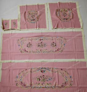 Antique Rococo Style Pink Roses Golden Swirls Floral Sofa Chair Cover Sets