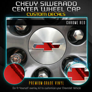 4 Wheel Cap Bowtie Insert Decals Fit 2019 Chevrolet Silverado Chrome Mirror