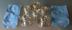 6 Cartier Sterling 601 Demitasse Cups Saucers No Liners 12 Cartier Felt Bags 6 1