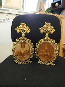 Antique French Filigree Brass And Amber Glass Ornate Perfume Bottles