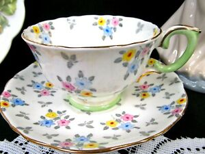 Crown Staffordshire Tea Cup And Saucer Chintz Floral Painted Beaded Teacup