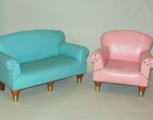 Rare Mid Century Salesman Sample Mini Turquoise Sofa Pink Chair I Love Lucy