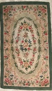 Vtg American Hand Crafted Hooked Wool Rug 3 X 5 Floral Green Pink Tan Wreath