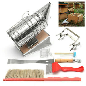 8pcs Beekeeping Tools Kit Spur Wire Wheel Embedder Queen Catcher Uncapping Fork