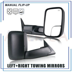 For 1998 2001 Dodge Ram 1500 2500 3500 Manual Flip up Power Heated Tow Mirrors