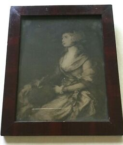 Antique 19th C Mahogany Veneered Wooden Picture Frame W Orig Portrait Print