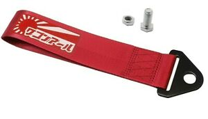 Jdm Raising Sun High Strength Tow Strap For Front Rear Bumper Towing Hook Red