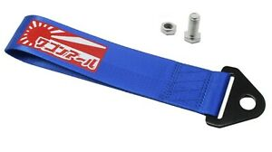 Jdm Raising Sun High Strength Tow Strap For Front Rear Bumper Towing Hook Blue