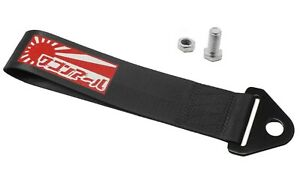 Jdm Raising Sun High Strength Tow Strap For Front Rear Bumper Towing Hook black