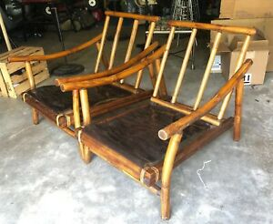 Vintage Pair Mcm Rattan Chairs Well Made Mid Century Modern Vintage