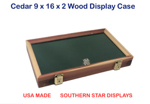Cedar Wood Display Case 9 X 16 X 2 Glass Top For Arrowheads Knifes Coins