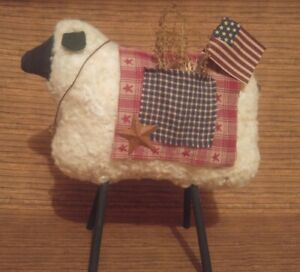 Primitive Decor Americana July 4th Large Sheep Handcrafted