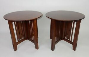 Pair Of Stickley Style Round Solid Cherry End Tables Spindled Base 28 Inches