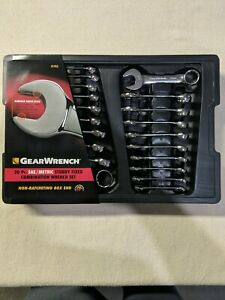 Gearwrench 81903 20 Piece Sae Metric Stubby Non Ratcheting Wrench Set Freeship