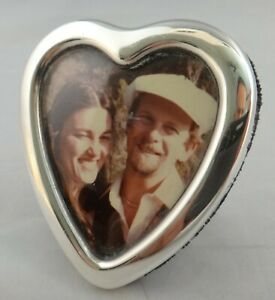 Vintage English Sterling Silver Heart Shaped Picture Frame 3 X 2 5 8