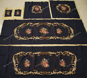 Royal Golden Vtg Swirls Floral Black Antique Reproduction Sofa Chair Cover Sets