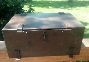 Antique 21 Stagecoach Strongbox Heavy Iron Railroad Train Trunk Chest
