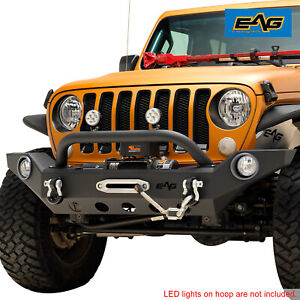 Full Width Front Bumper Rock Crawler With D Ring Fit For 18 19 Jeep Jl Wrangler