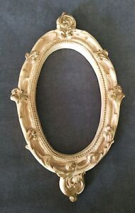 Gorgeous Antique Vintage Ornate Oval Gold Plaster Baroque Picture Frame Photo