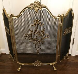 Vintage French Rococo French Country Tri Fold Fireplace Screen Brass