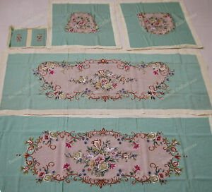 Vtg Classic French Swirl Floral Olive Handmade Needlepoint Chair Sofa Cover Sets