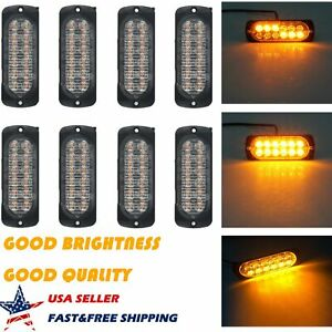 8x 12 Led Car Strobe Light Bar Van Truck Beacon Flash Warning Emergency Amber