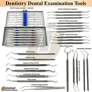 Periodontal Examination Tools Complete Set Hygienist Dentist Pick Instruments Ce
