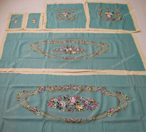 Victorian Louisxiv Style Vtg Reproduction Floral Sofa Chair Cover Sets Lightblue